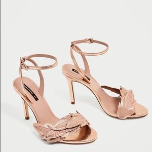 ZARA leather Rose Gold heel leaf sandals